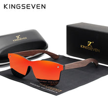 Load image into Gallery viewer, KINGSEVEN Handmade Sunglasses Men Polarized Walnut Wooden Eyewear Women Mirror Vintage Oculos de sol masculino UV400