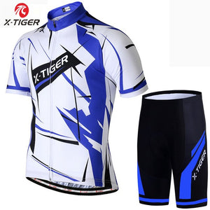 X-Tiger Summer Short sleeve Cycling Jersey Set Breathable Quick drying Cycling Clothing Racing Bicycle Wear MTB Bike Clothes Set
