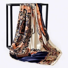 Load image into Gallery viewer, Silk Scarf Women Print hair neck Square Scarves Office Ladies Shawl Bandanna 90*90cm Muslim Hijab Handkerchief muffler foulard