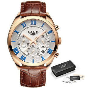 LIGE Watch For Men Top Brand Luxury Waterproof 24 Hour Date Quartz Clock Brown Leather Sports WristWatch Relogio Masculino 2020