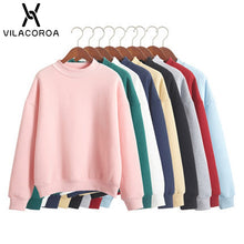Load image into Gallery viewer, 9 Colors Winter Grey Hoodie Round Neck Long Sleeve Velvet Warm Sweatshirts Women Korean Black Loose Hoodies Female Casual Coat