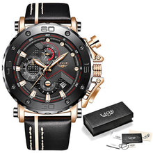 Load image into Gallery viewer, Relogio Masculino 2020 New LIGE Sport Chronograph Mens Watches Top Brand Casual Leather Waterproof Date Quartz Watch Man Clock