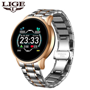 LIGE 2020 Smart Watch Men Heart Rate Blood Pressure Information Reminder Sport Waterproof Smartwatch smart band for Android iOS