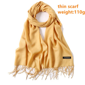 Women Winter Scarf 2020 Pure Cashmere Scarves Thick Neck Warm Headband Hijab Lady shawls Wraps Blanket Pashmina Female Echarpe