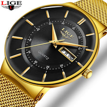 Load image into Gallery viewer, Relogio Masculino 2020 LIGE New Mens Watches Top Brand Luxury Ultra Thin Quartz Watch Men Steel Mesh Strap Waterproof Gold Watch