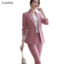 Load image into Gallery viewer, Lenshin High Quality 2 Piece Set Plaid Formal Pant Suit Blazer Office Lady Designs Women Soft Jacket and Ankle-Length Pant