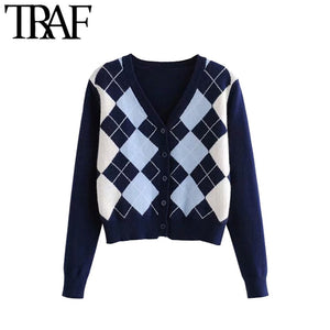TRAF Women Cardigan Vintage Stylish Geometric Pattern Short Knitted Sweater Fashion Long Sleeve England Style Outerwear Chaqueta