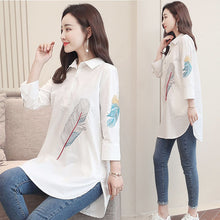 Load image into Gallery viewer, 100% Cotton Plus size Feather Embroidery White Long Blouse Women 3/4 Sleeve Art Loose Ladies Office Work Tops Button Down Shirts