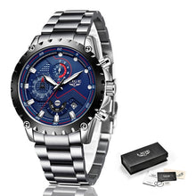 Load image into Gallery viewer, New 2020 LIGE Fashion Blue Stainless Steel Mens Watches Top Brand Luxury Waterproof Quartz Watch Men Date Dial Sport Chronograph