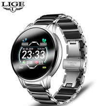 Load image into Gallery viewer, LIGE New Ceramic Smart Watch Women Heart Rate Blood Pressure Monitor For Android IOS Sport Multifunctional Steel Belt Smartwatch