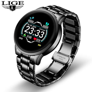 LIGE New Ceramic Smart Watch Women Heart Rate Blood Pressure Monitor For Android IOS Sport Multifunctional Steel Belt Smartwatch