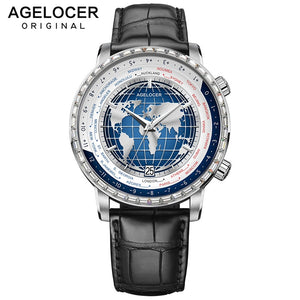 AGELOCER Swiss Top Brand Luxury World Time Watches for Men Mechanical Watch Waterproof Blue Automatic Watches relogio masculino