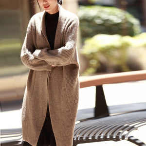 Ropa Mujer Invierno 2020Women Autumn Winter Thick Warm Oversized Long Yak Cashmere Sweater Brief Casual Lazy Cardigan Femme Coat