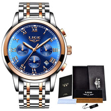 Load image into Gallery viewer, Relojes Hombre 2020 LIGE New Watches Men Luxury Brand Chronograph Male Sport Watches Waterproof Stainless Steel Quartz Men Watch