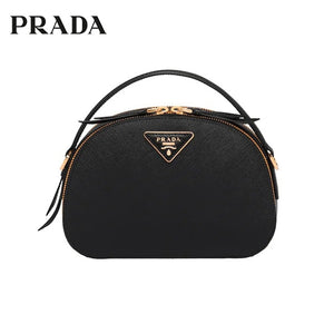 PRADA Odette Saffiano Leather Handbag Adjustable Strap Rounded Shoulder Bags For Women 1BH123