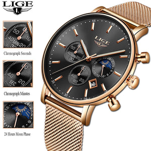 2020 New Women Gift Clock LIGE Fashion Brand Quartz Wristwatch Ladies Luxury Rose Gold Watch Female Watch Women Relogio Feminino