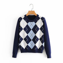 Load image into Gallery viewer, Women sweater pullover 2020 New fashion autumn diamond-shaped lattice women pullover sweater cute British style sweater top
