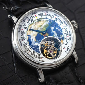 3D Earth Real Tourbillon ST8000 Movement Men Watch Alligator Leather Men's Mechanical Wristwatch
