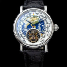 Load image into Gallery viewer, 3D Earth Real Tourbillon ST8000 Movement Men Watch Alligator Leather Men's Mechanical Wristwatch
