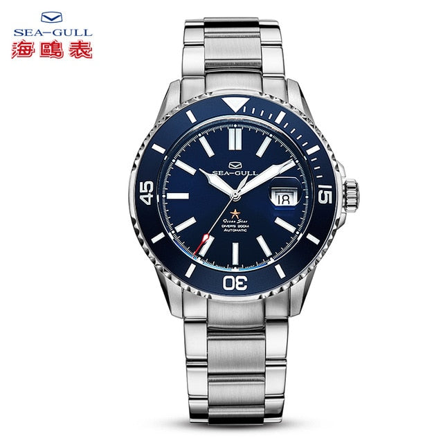 Seagull Watch Men's Sports Fashion ocean star Automatic luminous Watch 200m Waterproof Business  Steel Strap Watch 816.523