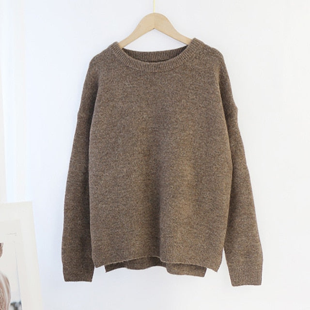 Aachoae O Neck Cashmere Pullover Sweater Women Batwing Long Sleeve Loose Soft Wool Sweaters Knitted Jumpers Casual Tops Pullover