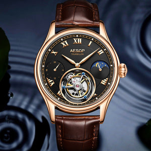 Tourbillon Watch Men Mechanical Watches Moon Phase Luxury Top Brand Tourbillon Business Watches For Men 2020 Relogio Masculino