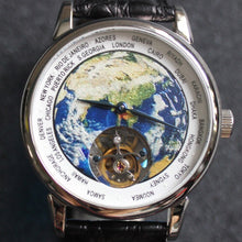 Load image into Gallery viewer, Real ST8000 Tourbillon Mechanical Watches men High-end 3D Enamel Dial Luxury Brand Earth Dial Men's Wristwatches Reloj Hombre
