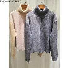 Load image into Gallery viewer, High Quality Lady Cashmere Sweater Temperament Gao Collar Contrast Color Wild Loose Cashmere Sweater Female Sweater Thick
