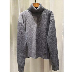 High Quality Lady Cashmere Sweater Temperament Gao Collar Contrast Color Wild Loose Cashmere Sweater Female Sweater Thick