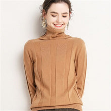 Load image into Gallery viewer, Korean style 100%cashmere turtleneck knit women fashion solid slim short pullover sweater S-2XL retail wholesale