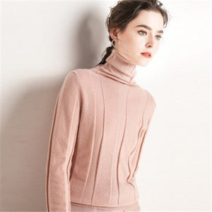 Korean style 100%cashmere turtleneck knit women fashion solid slim short pullover sweater S-2XL retail wholesale
