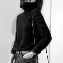 Load image into Gallery viewer, 100%cashmere knit women casual turtleneck solid irregular hem loose pullover sweater S-XL retail wholesale