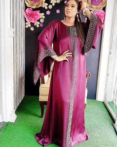 Dashiki Dress Silk Beading Abaya Dubai Maxi Bazin African Design Vintage Long Sleeve Robe Gowns Africa Sexy Lady Party