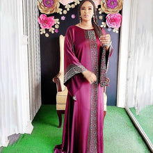 Load image into Gallery viewer, Dashiki Dress Silk Beading Abaya Dubai Maxi Bazin African Design Vintage Long Sleeve Robe Gowns Africa Sexy Lady Party