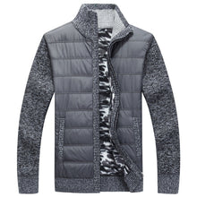 Load image into Gallery viewer, Winter Men's Fleece Sweater Coat Thick Patchwork Wool Cardigan Muscle Fit Knitted Jackets Fashionable Male Clothing for Autumn