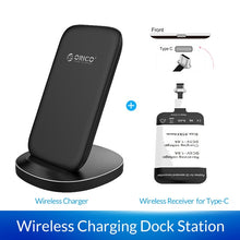 Load image into Gallery viewer, ORICO Qi Fast Wireless Charging Dock Station Mobile Phone Holde for iPhone X XS 8 Samsung Phone Charger With Receiver for Xiaomi
