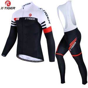 X-Tiger Long Sleeve Cycling Jersey Set Spring MTB Bike Wear Cycling Clothes Ropa Maillot Ciclismo Cycling Set Bicycle Clothing