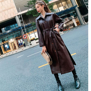 WSYORE Cool PU Leather Long Jacket 2020 New Autumn Women Loose Belt PU Leather Windbreaker Trench Coat Slim Spring Jacket NS939a