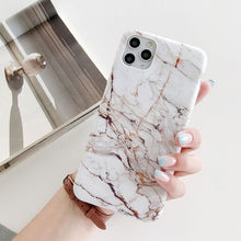 Load image into Gallery viewer, LOVECOM Phone Case For iPhone 12 11 Pro Max XR XS Max 6 7 8 Plus X Soft IMD Cute Pink Vintage Marble Full Body Back Cover Coque