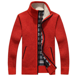2020 Autumn Winter Men's Sweater Coat Faux Fur Wool Sweater Jackets Men Zipper Knitted Thick Coat Warm Casual Knitwear Cardigan