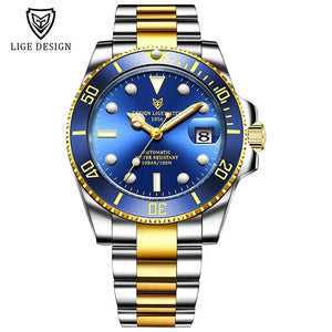 LIGE 2020 New Men Mechanical Wristwatch Stainless Steel 100ATM Waterproof Watch Top Brand Luxury Sports Men Watches Reloj Hombre