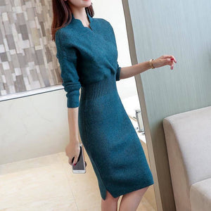 Autumn Winter Women Slim V-neck Knitted Sweater Dress Female Bodycon Tricot Pullovers Dress Knitwear Elegant Vestidos K250