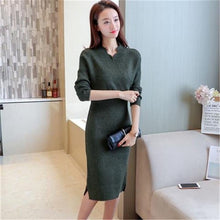 Load image into Gallery viewer, Autumn Winter Women Slim V-neck Knitted Sweater Dress Female Bodycon Tricot Pullovers Dress Knitwear Elegant Vestidos K250