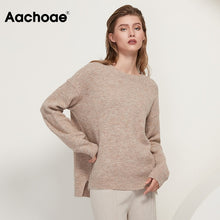 Load image into Gallery viewer, Aachoae O Neck Cashmere Pullover Sweater Women Batwing Long Sleeve Loose Soft Wool Sweaters Knitted Jumpers Casual Tops Pullover