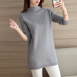 Pullover Female medium long Sweater 2019 new autumn winter loose plus size half high collar Tops thick warm knit women Sweater