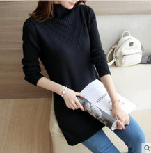 Load image into Gallery viewer, Pullover Female medium long Sweater 2019 new autumn winter loose plus size half high collar Tops thick warm knit women Sweater