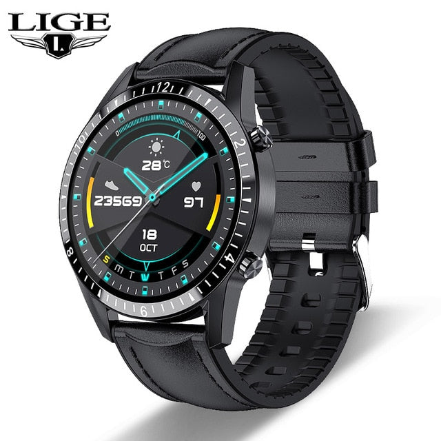 LIGE New Bluetooth Phone Smart Watch Men Waterproof Sport Multifunction Fitness Watch Health Tracker Weather Display smartwatch