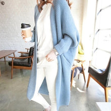 Load image into Gallery viewer, Long Cardigan women Sweater Autumn Winter Bat sleeve Knitted Sweater Plus size Jacket Loose Ladies Sweaters Coat Plus Size