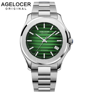 AGELOCER Swiss Men Automatic Self Wind Mechanical Watch Saphire Stainless Steel Simple Business Blue Rose Gold Green Date Watch