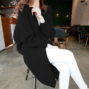 Long Cardigan women Sweater Autumn Winter Bat sleeve Knitted Sweater Plus size Jacket Loose Ladies Sweaters Coat Plus Size
